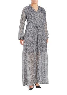 MICHAEL MICHAEL KORS PLUS Plus Damask Print Long-Sleeve Maxi Dress