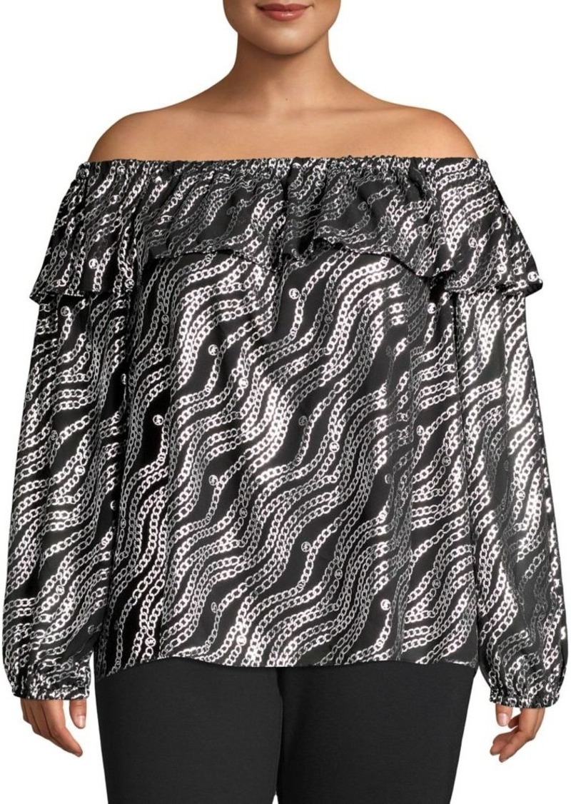 MICHAEL Michael Kors Plus Printed Off-the-Shoulder Ruffle Top