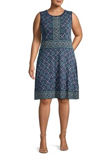 MICHAEL Michael Kors Plus Procelain-Print Sleeveless Dress