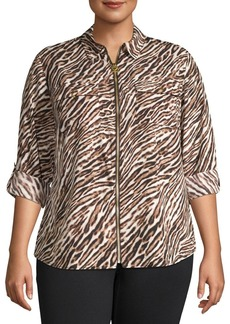 MICHAEL Michael Kors Plus Safari-Print Zip-Front Top