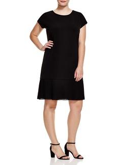 Michael Michael Kors Plus Short Sleeve Pleat Hem Dress