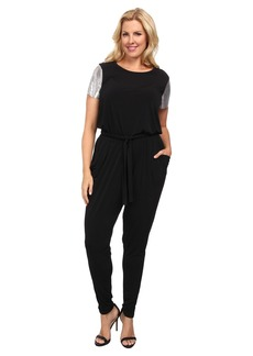 MICHAEL Michael Kors Plus Size Short Sleeve Chain Mesh Sleeve Jumpsuit