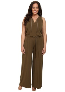 MICHAEL Michael Kors Plus Size Sleeve Less Lace Up Jumpsuit