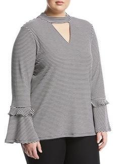 MICHAEL Michael Kors Plus Striped Choker-Neck Flare-Sleeve Tee