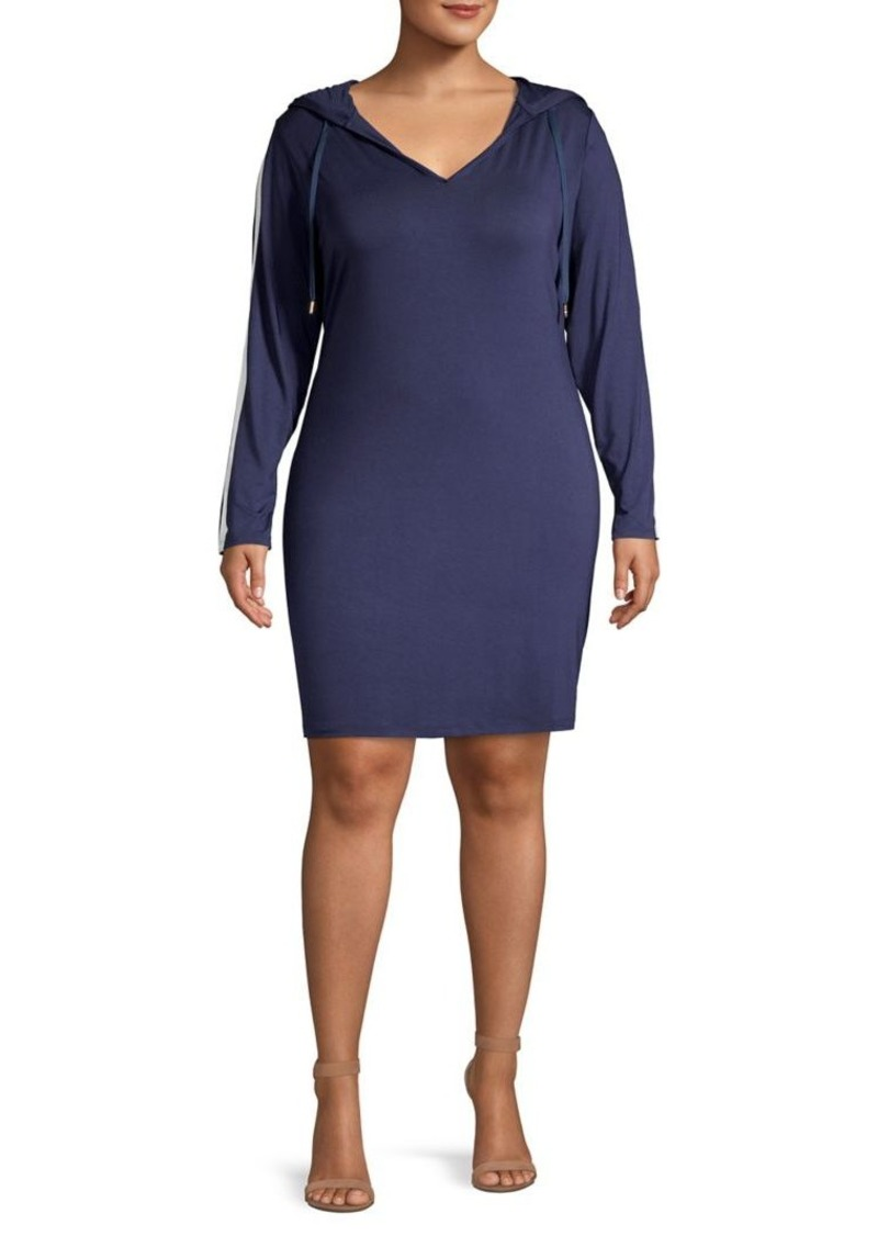 MICHAEL Michael Kors Plus Striped Hooded T-Shirt Dress