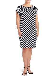 MICHAEL MICHAEL KORS Plus Striped Tulip-Sleeve Dress