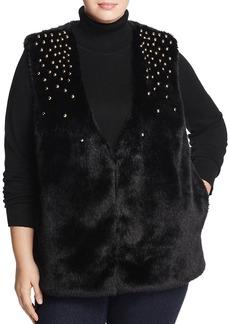 Michael Michael Kors Plus Studded Faux-Fur Vest