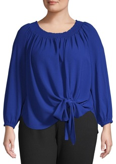 MICHAEL Michael Kors Plus Tie-Front Shirred-Neck Top