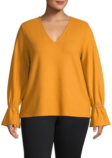 MICHAEL Michael Kors Plus V-Neck Ruffle Top