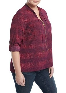 MICHAEL Michael Kors Plus Zephyr Dogtag-Pull Reptile-Print Shirt