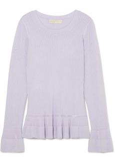 Pointelle-knit peplum sweater
