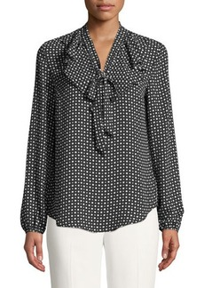 MICHAEL Michael Kors Polka-Dot Tie-Neck Blouse