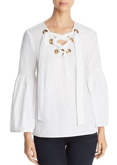 MICHAEL Michael Kors Poplin Lace-Up Bell-Sleeve Top