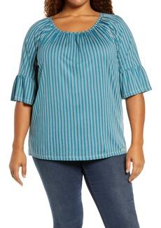 MICHAEL Michael Kors Prep Stripe Gathered Top (Plus Size)