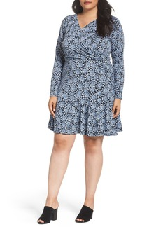 MICHAEL Michael Kors Print Faux Wrap Dress (Plus Size)