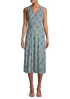 MICHAEL Michael Kors Printed Crossover V-Neck Midi Dress