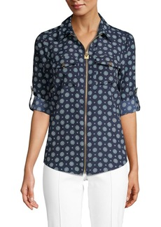 MICHAEL Michael Kors Printed Front-Zipper Shirt