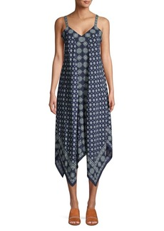 MICHAEL Michael Kors Printed Handkerchief Hem Midi Dress