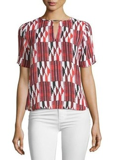 MICHAEL Michael Kors Printed Logo-Bar Short-Sleeve Blouse