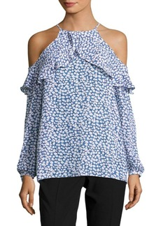 MICHAEL MICHAEL KORS Printed Long-Sleeve Cold-Shoulder Blouse