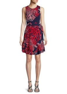 MICHAEL Michael Kors Printed Ruffle Shift Dress