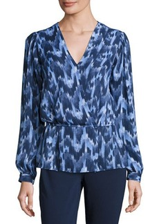MICHAEL Michael Kors Printed V-Neck Peplum Top