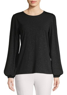 MICHAEL Michael Kors Puff-Sleeve Metallic Top