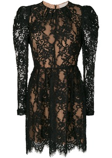 Michael Michael Kors puffed sleeve layered lace dress - Black