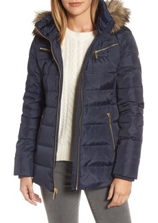 MICHAEL Michael Kors Puffer Coat with Detachable Hood and Faux Fur Trim