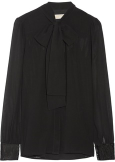 MICHAEL Michael Kors Pussy-bow sequin-embellished georgette blouse