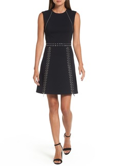 MICHAEL Michael Kors Pyramid Stud Zipper Detail Dress