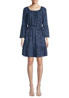 MICHAEL Michael Kors Python Print Bell Sleeve Dress