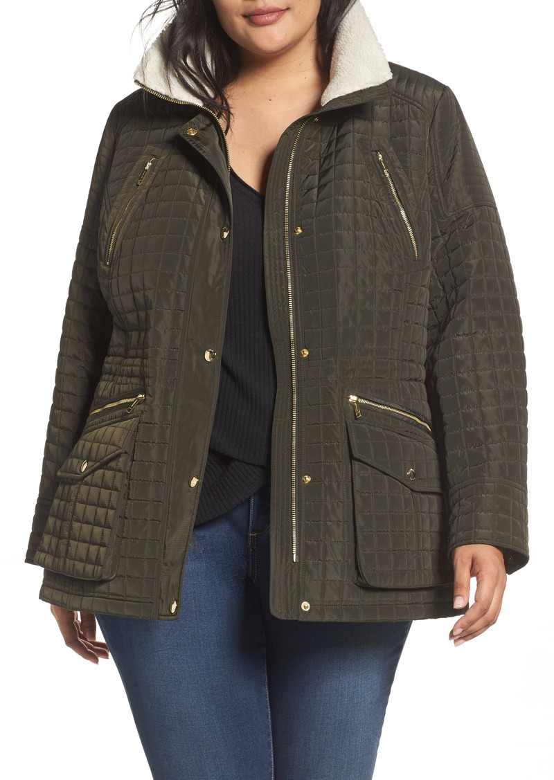 be0f9d4dfcf MICHAEL Michael Kors Quilted Jacket with Faux Shearling Trim (Plus Size)