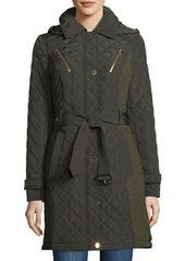 MICHAEL Michael Kors Quilted Pea Coat w/ Belt & Hood