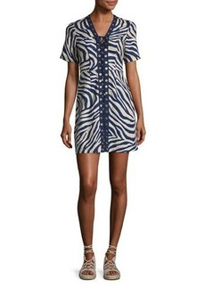 MICHAEL Michael Kors Quincy Lace-Up Zebra-Print Minidress