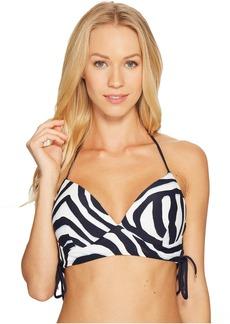 Quincy Zebra Lace-Up Halter Bikini Top