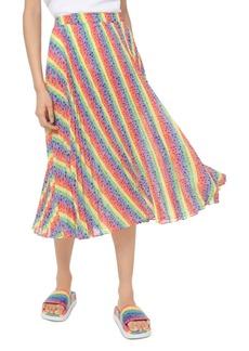 MICHAEL Michael Kors Rainbow Logo Striped Georgette Skirt