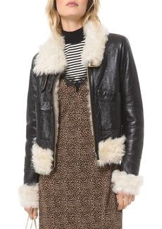 MICHAEL Michael Kors Real Lamb Shearling Bomber Jacket