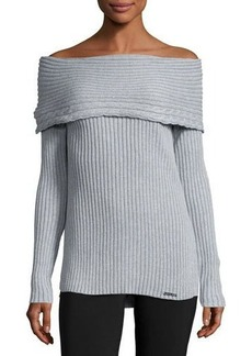 MICHAEL Michael Kors Rib-Knit Off-the-Shoulder Sweater