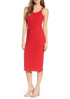MICHAEL Michael Kors Ribbed Circle Trim Body-Con Dress