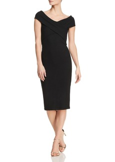MICHAEL Michael Kors Ribbed Crossover-Collar Dress