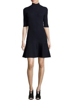 MICHAEL Michael Kors Ribbed Fit-&-Flare Turtleneck Dress