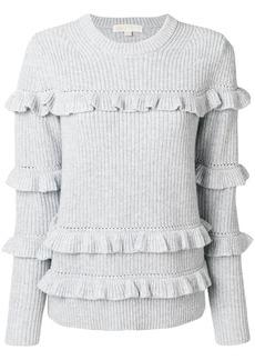 Michael Michael Kors ribbed frill trim jumper - Grey