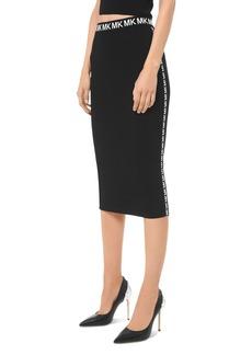 MICHAEL Michael Kors Ribbed Logo-Trim Pencil Skirt
