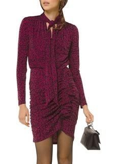 MICHAEL Michael Kors Ruched Animal-Print Mini Dress