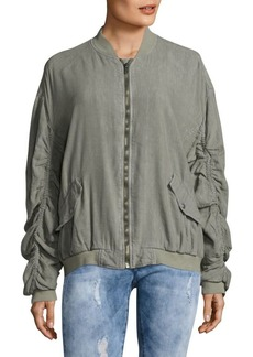 Free People Ruched Long Sleeve Bomber