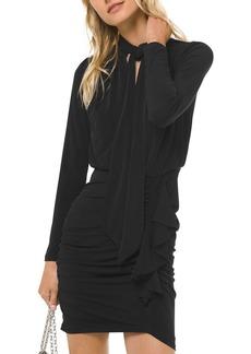MICHAEL Michael Kors Ruched Tie-Neck Jersey Mini Dress