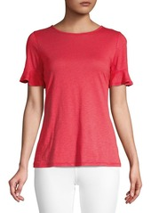 MICHAEL Michael Kors Ruffle Cotton Blend Top