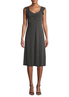 MICHAEL Michael Kors Ruffle Flutter Sleeve Dotted Dress