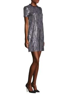 MICHAEL MICHAEL KORS Ruffle Neck Lace Shift Dress